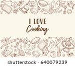 i love cooking. baking tools in ... | Shutterstock .eps vector #640079239