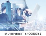two handsome young businessmen... | Shutterstock . vector #640080361