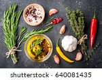 herbs and spices. rosemary ... | Shutterstock . vector #640081435
