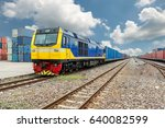 cargo train platform with... | Shutterstock . vector #640082599
