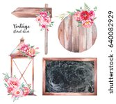 watercolor vintage floral decor ... | Shutterstock . vector #640082929