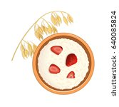 tasty oatmeal with berries and... | Shutterstock .eps vector #640085824