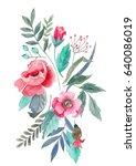 botanical illustration in... | Shutterstock . vector #640086019
