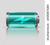vector blue battery  full... | Shutterstock .eps vector #640087684
