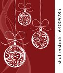 christmas balls with scrolls... | Shutterstock .eps vector #64009285