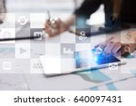 Small photo of Virtual screen interface with applications icons. APPS. Work Business process in modern office. Strategy planning Internet technology concept.
