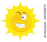 winking yellow sun cartoon... | Shutterstock .eps vector #640100671