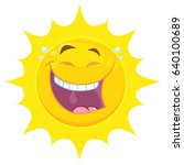 laughing yellow sun cartoon... | Shutterstock .eps vector #640100689