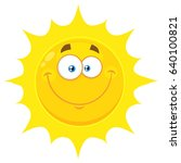 Smiling Yellow Sun Cartoon...