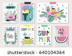 vector set of bright summer... | Shutterstock .eps vector #640104364