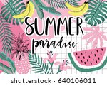 summer paradise poster with... | Shutterstock .eps vector #640106011