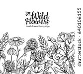 wild flowers vector drawing set.... | Shutterstock .eps vector #640106155