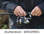 fishing reel  angler. the man...   Shutterstock . vector #640109851