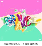 summer travel   3d colorful... | Shutterstock .eps vector #640110625
