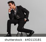 side view of a thoughtful... | Shutterstock . vector #640113181
