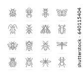 insect vector line icons ... | Shutterstock .eps vector #640115404