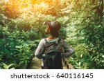 traveler woman with backpack... | Shutterstock . vector #640116145