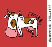 cute cow cartoon   vector... | Shutterstock .eps vector #640116649