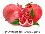 pomegranate isolated on white... | Shutterstock . vector #640121041