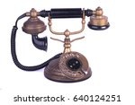 old telephone on white... | Shutterstock . vector #640124251
