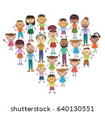 cartoon baby faces in heart... | Shutterstock .eps vector #640130551
