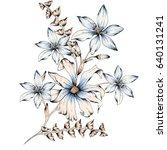 Stock photo watercolor flower illustration 640131241