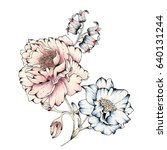 Stock photo watercolor flower illustration 640131244