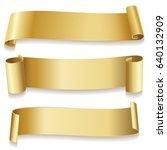 ribbons golden isolated on... | Shutterstock . vector #640132909