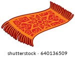 oriental magic carpet vector... | Shutterstock .eps vector #640136509