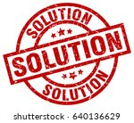 solution round red grunge stamp | Shutterstock .eps vector #640136629