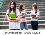 group of happy teen high school ... | Shutterstock . vector #640142215
