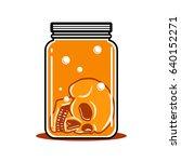 skull drowning in the jar... | Shutterstock .eps vector #640152271