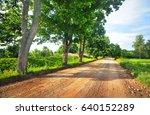 gravel road going through field ... | Shutterstock . vector #640152289
