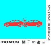 car accident icon flat. red... | Shutterstock .eps vector #640157101