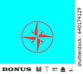 compass icon flat. red...