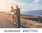 engineer and foreman discussing ... | Shutterstock . vector #640177351
