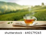 warm cup of tea and tea leaf... | Shutterstock . vector #640179265