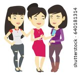 asian woman showing something...   Shutterstock .eps vector #640181314