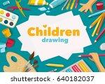 children drawing white list... | Shutterstock . vector #640182037
