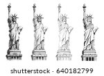 statue of liberty  vector set.... | Shutterstock .eps vector #640182799