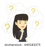 asian business woman thinking.... | Shutterstock .eps vector #640183375