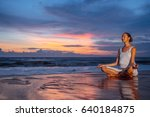 young girl in lotus pose... | Shutterstock . vector #640184875