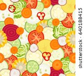 vegetable seamless pattern. a... | Shutterstock .eps vector #640188415