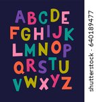 colorful cute alphabet vector... | Shutterstock .eps vector #640189477