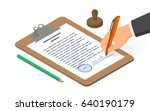 hand signing document on... | Shutterstock .eps vector #640190179