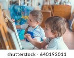 little children in studio | Shutterstock . vector #640193011