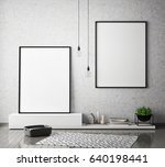 mock up poster frames in... | Shutterstock . vector #640198441