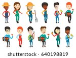 young caucasian farmer holding... | Shutterstock .eps vector #640198819
