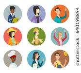confused traveler woman... | Shutterstock .eps vector #640198894