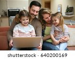 happy family spending time at... | Shutterstock . vector #640200169